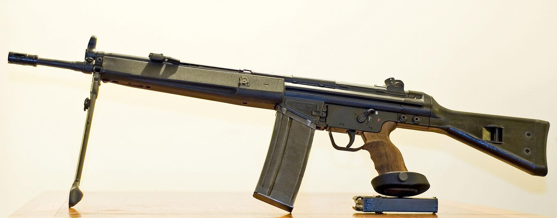 Greek-made HK91 copy (in United States designated as SAR-8) with optional PSG-1 grip, bipod and 30-round magazine