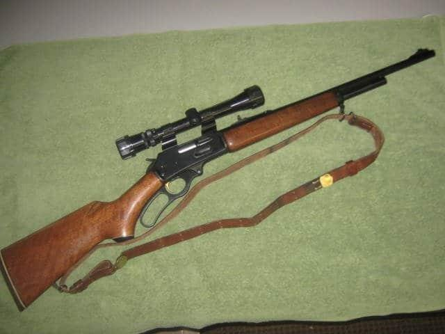 Marlin M-375 with mounted telescope sight